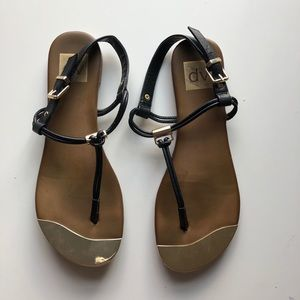 DV black and gold sandals
